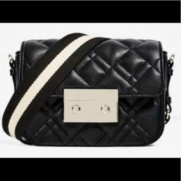 d6506b82 Zara Black Double Look Quilted Mini Crossbody Bag